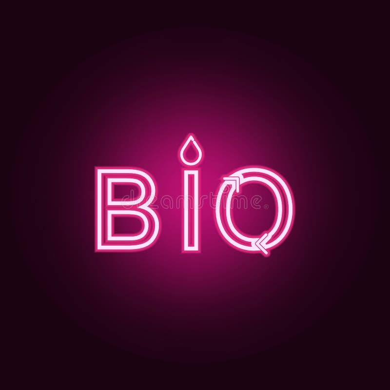 Emblema dell'icona al neon di bio-, logo verde organico e naturale r Icona semplice per i siti Web, web design, cellulare app, illustrazione vettoriale