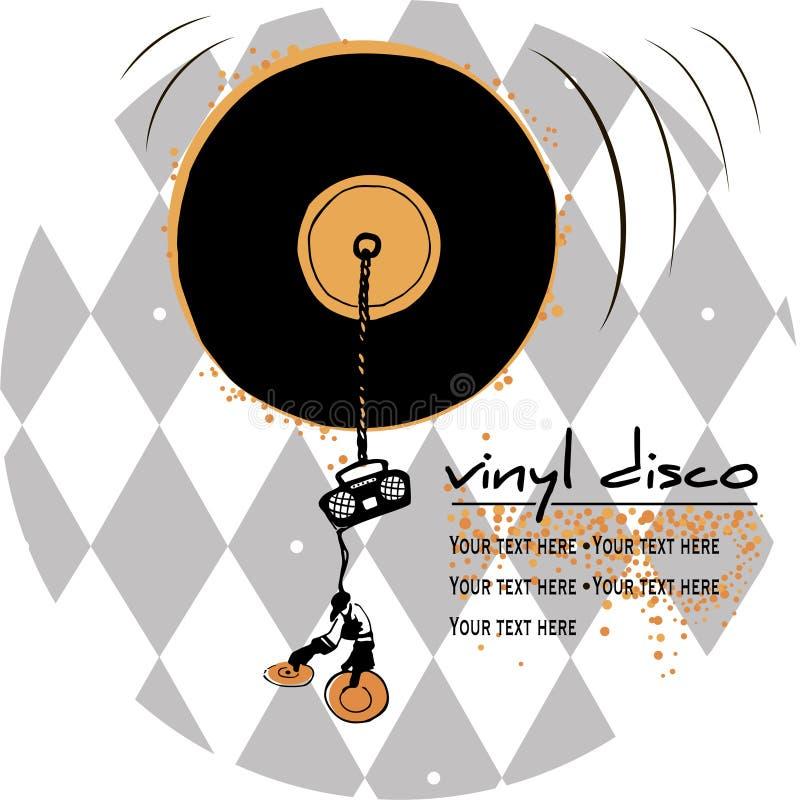 Emblema della discoteca del vinile illustrazione di stock