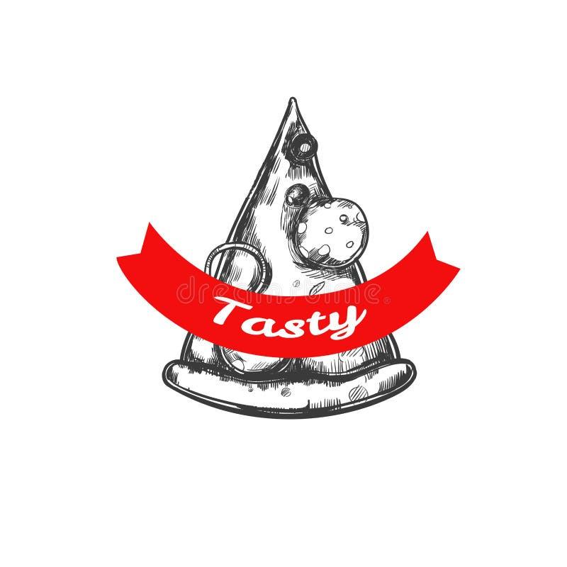 Emblema della fetta della pizza illustrazione di stock