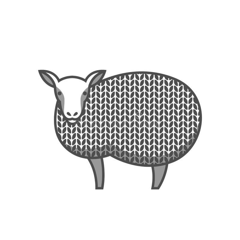 Emblema della lana con le pecore merino Etichetta per fatto a mano, tricottare o il negozio del sarto illustrazione di stock