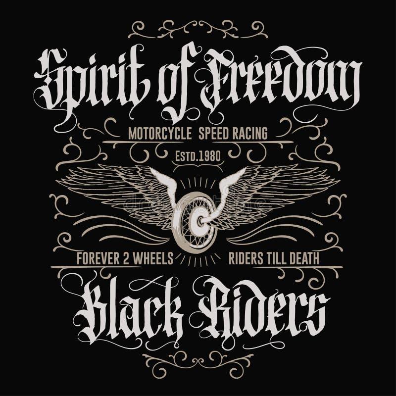 Emblema della maglietta di sport del motociclista del motociclo Vettore illustrazione di stock