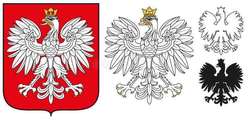 Emblema della Polonia - Eagle bianco, schermo e siluetta