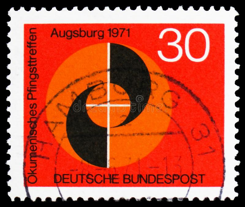 Emblema della riunione, riunione ecumenica di Pentecoste, serie di Augusta, circa 1971 fotografia stock libera da diritti