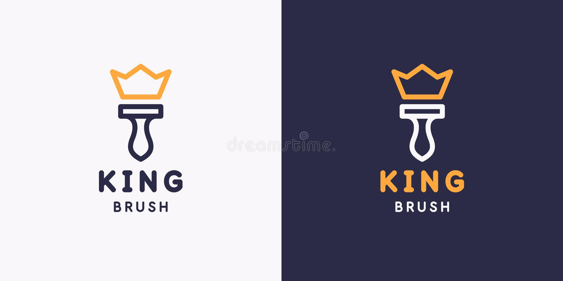 Emblema della spazzola di re Attrezzi per bricolage per rinnovamento e costruzione domestici Riparazione lineare della Camera di  royalty illustrazione gratis