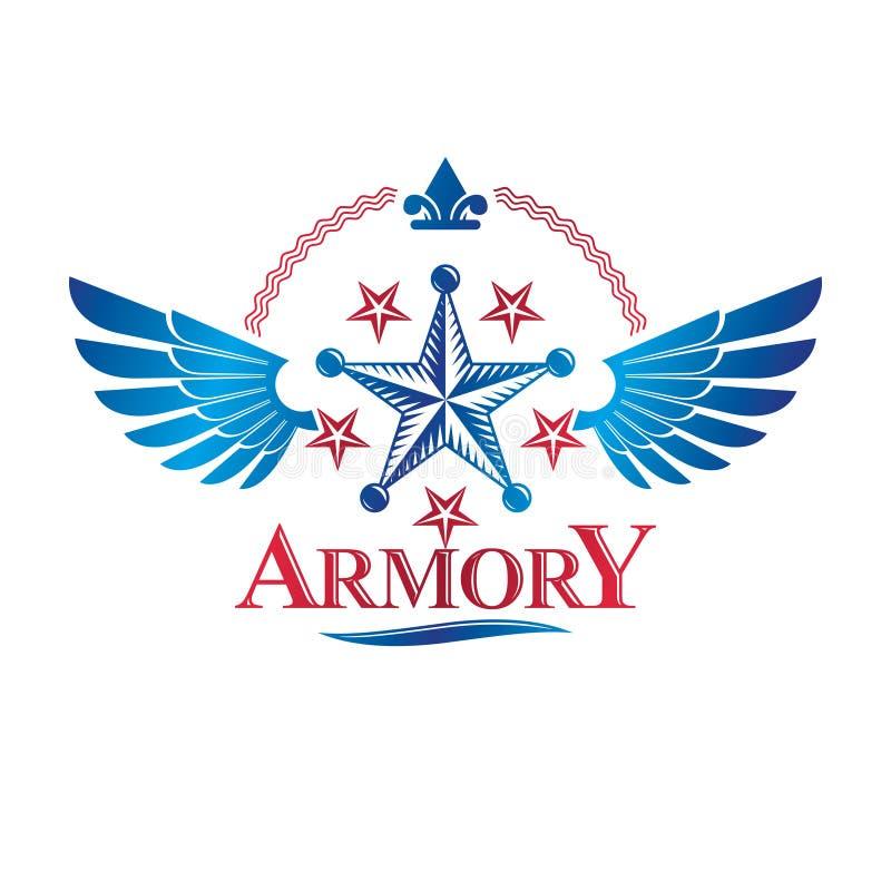 Emblema della stella alata decorato con fiore di giglio Elemento di progettazione araldico vettoriale, 5 stelle guaranty insignia illustrazione vettoriale