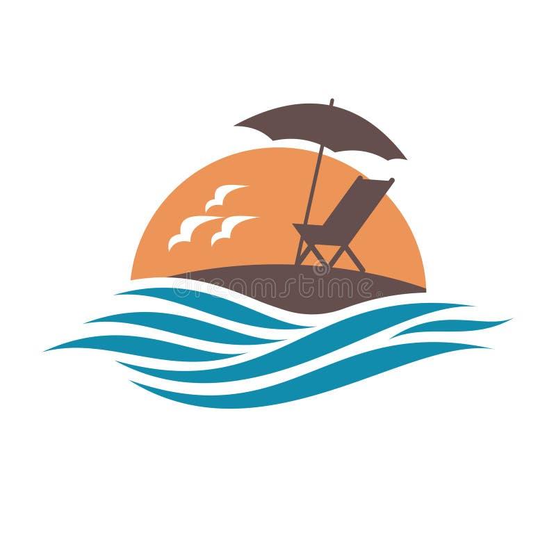 Emblema delle vacanze estive con la sedia adagiantesi e l'ombrello sull'isola