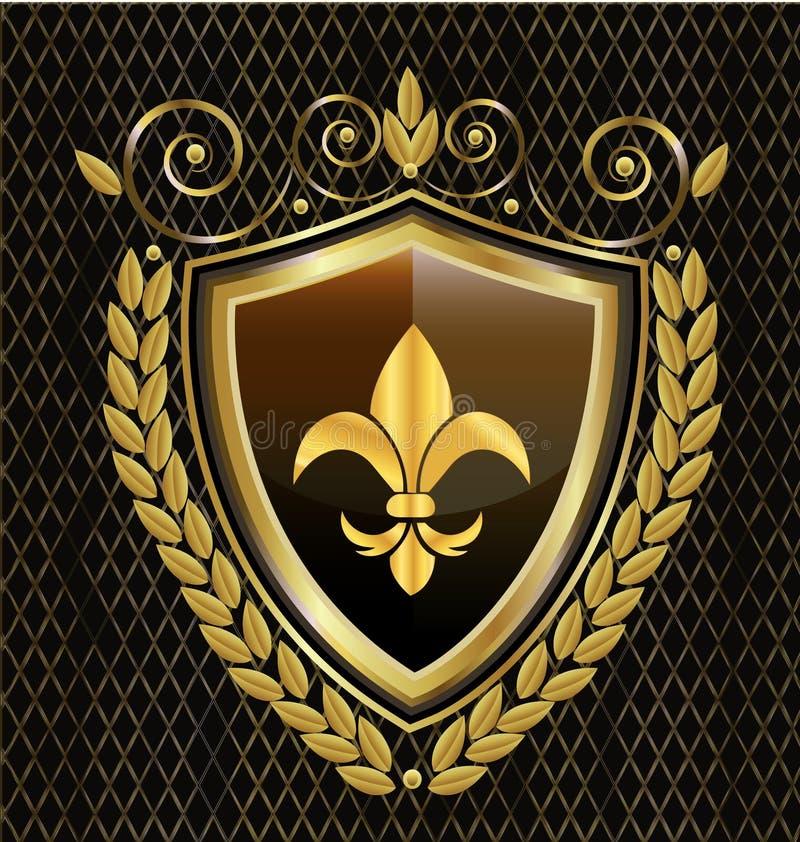 Emblema dello schermo dell'oro, con l'icona dell'estratto del fiore illustrazione di stock