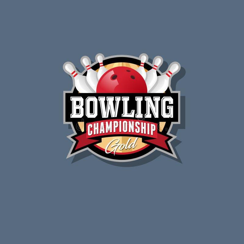 Emblema di campionato di bowling Logo di bowling Skittles e sfera illustrazione vettoriale