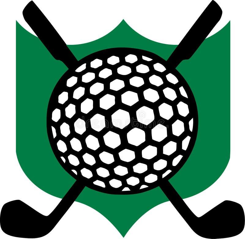 Emblema di golf con i club royalty illustrazione gratis