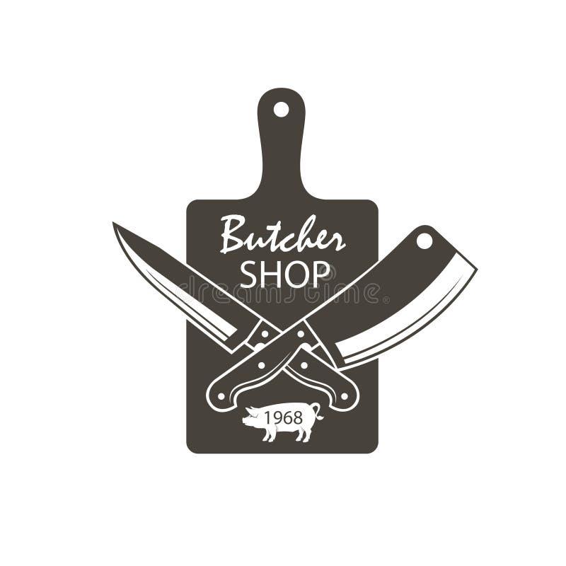 Emblema di macelleria illustrazione di stock