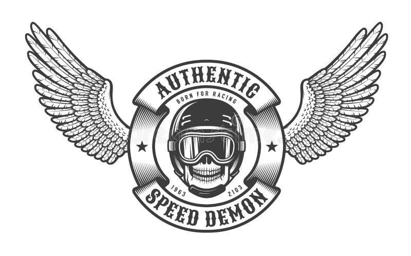 Emblema di Oldschool con il cranio delle ali nella corsa del casco illustrazione vettoriale