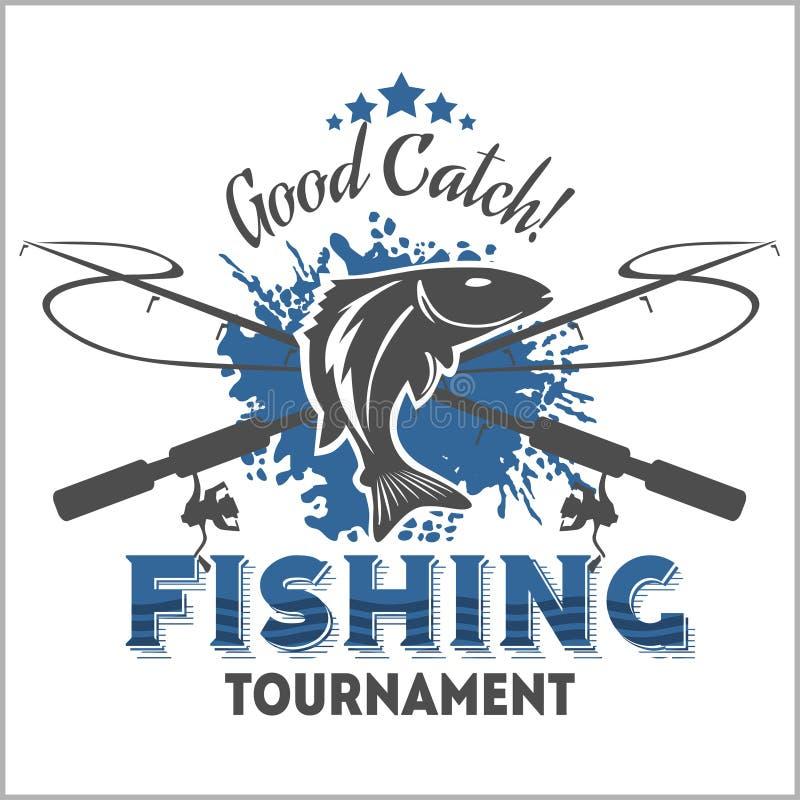 Emblema di pesca, distintivo ed elementi di progettazione illustrazione vettoriale