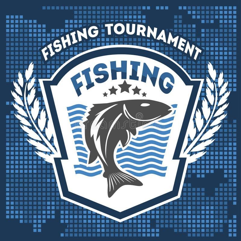Emblema di pesca, distintivo ed elementi di progettazione royalty illustrazione gratis