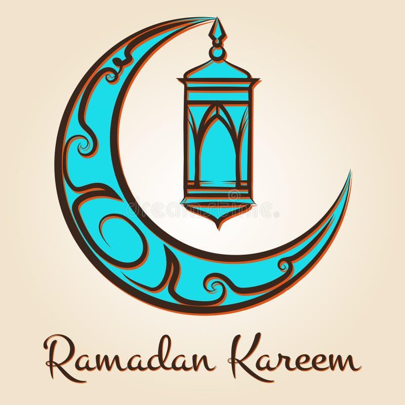 Emblema di Ramadan Kareem della lampada e della luna illustrazione di stock