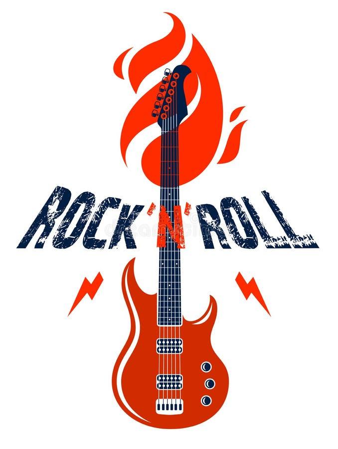 Emblema di rock-and-roll con il logo di vettore della chitarra elettrica, il festival di concerto o l'etichetta del night-club, i royalty illustrazione gratis