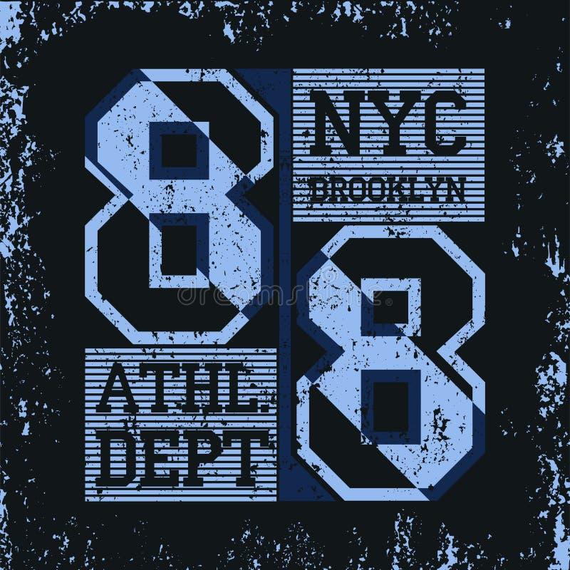 Emblema di tipografia di usura di sport di New York Brooklyn, maglietta royalty illustrazione gratis