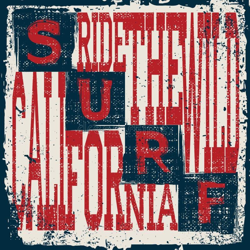 Emblema di tipografia di usura della spuma di California Progettazione grafica praticante il surfing della maglietta illustrazione vettoriale