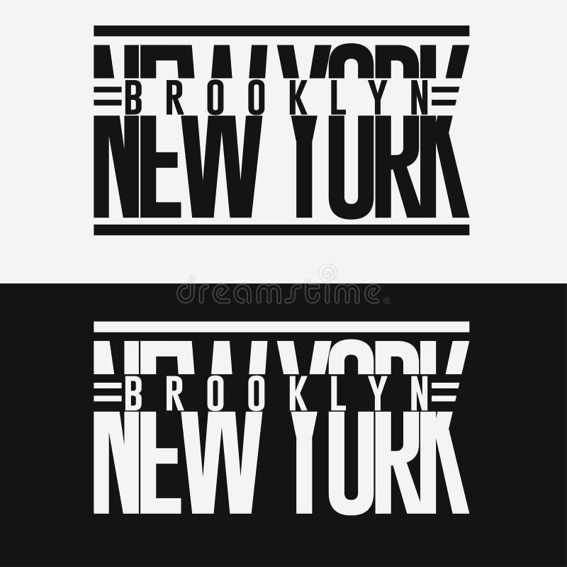 Emblema di tipografia di usura di sport di Brooklyn, grafici del bollo della maglietta illustrazione vettoriale