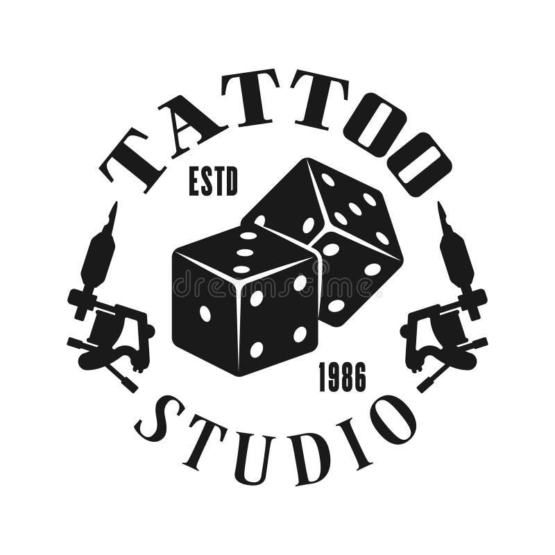 Emblema di vettore dello studio del tatuaggio con i dadi di gioco illustrazione vettoriale