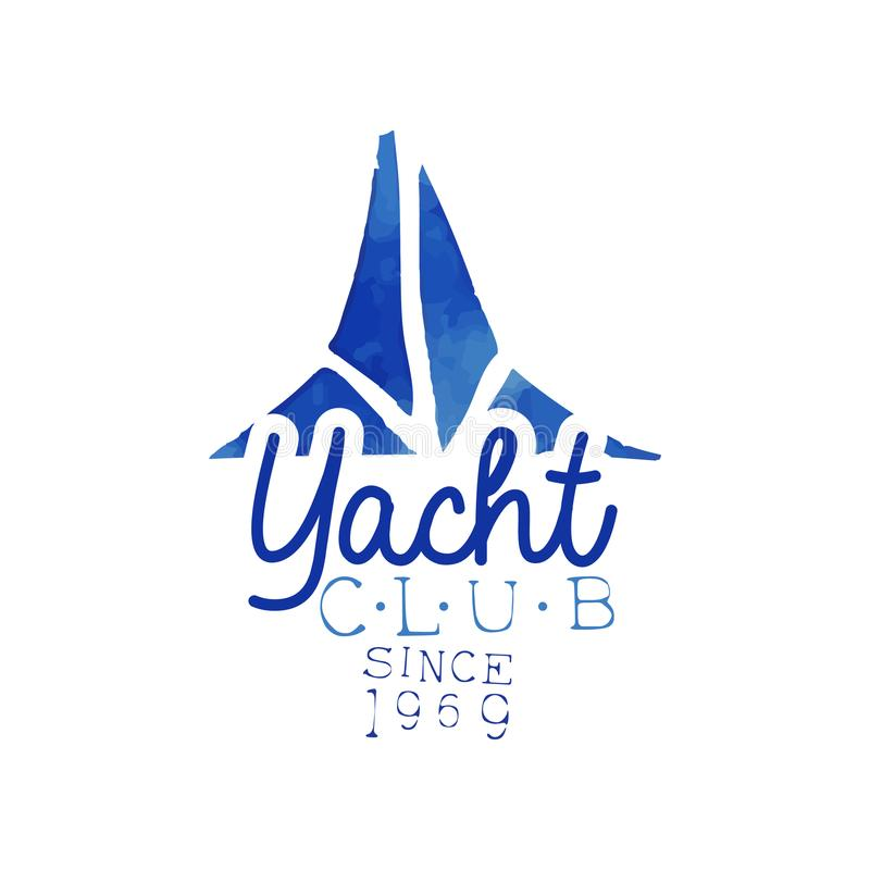 Emblema dibujado mano azul para el club náutico Concepto de aventura del mar Pintura brillante de la acuarela Diseño del vector p libre illustration