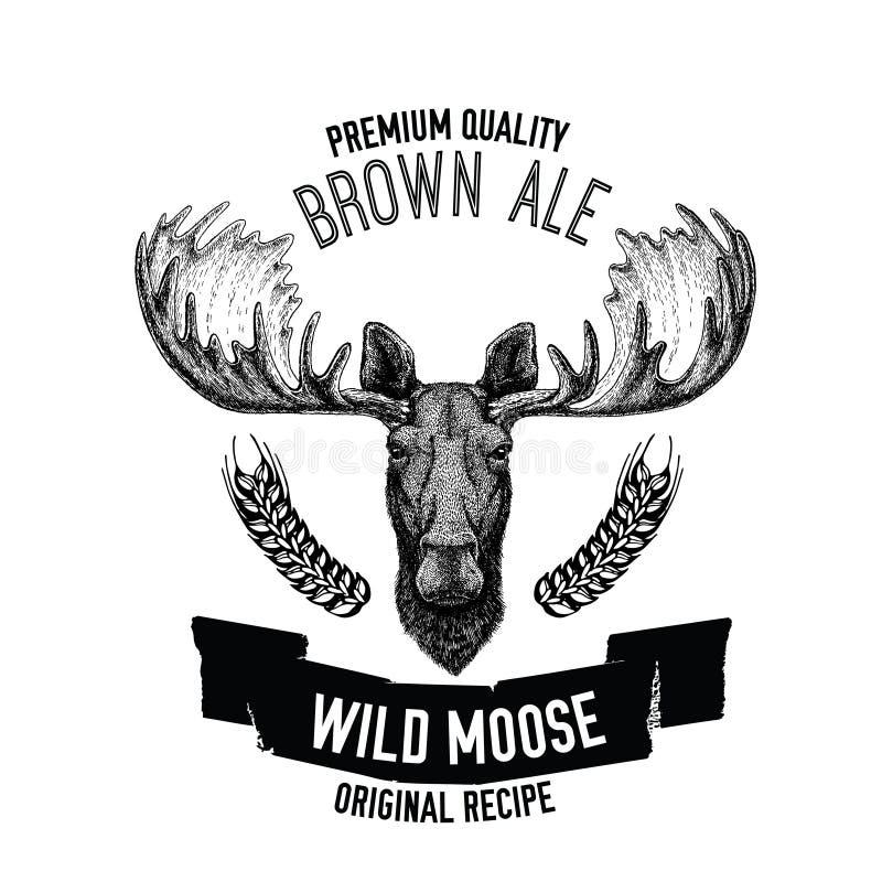 Emblema dibujado mano de la cerveza con los alces salvajes stock de ilustración