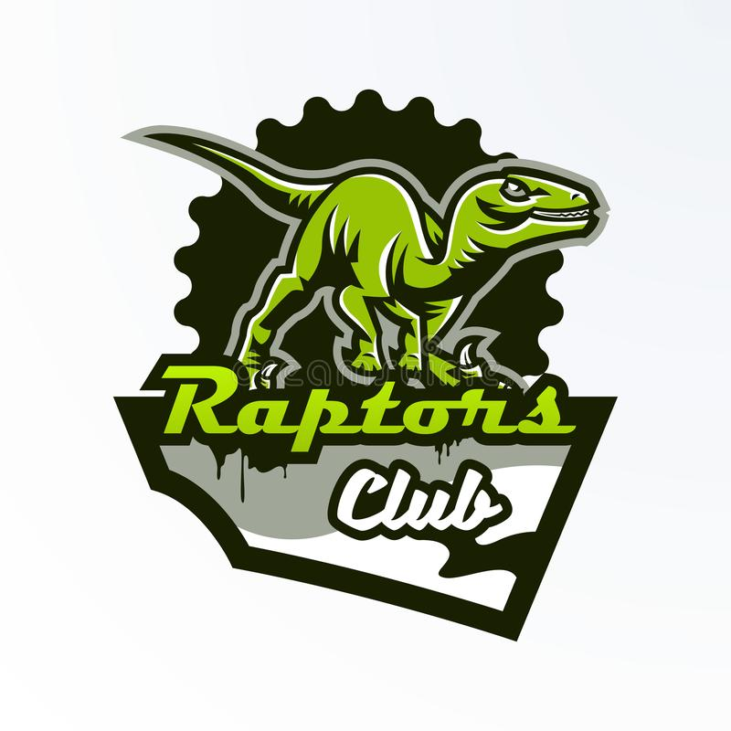 Emblema, distintivo, autoadesivo, logo del dinosauro sulla caccia Predatore giurassico, una bestia pericolosa, un animale estinto illustrazione vettoriale
