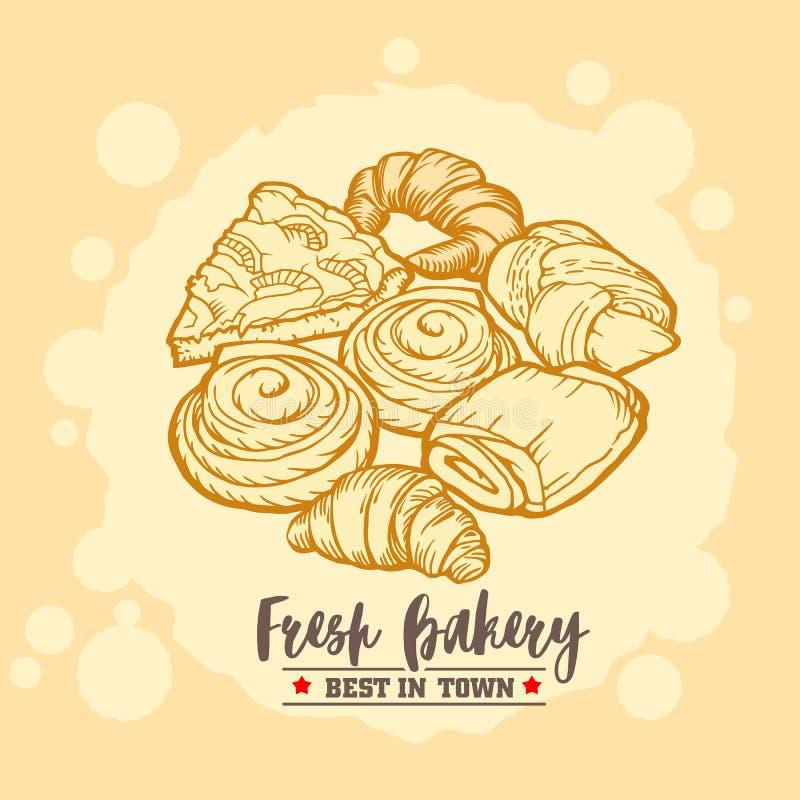 Emblema, distintivo e logo del negozio del forno Croissant, torte e panini deliziosi Disegno dell'annata immagine stock libera da diritti