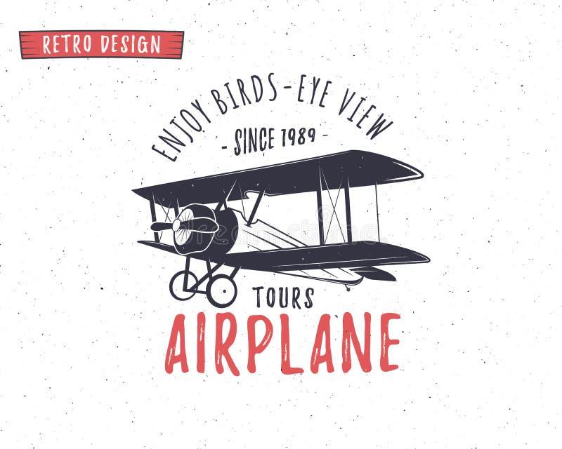 Emblema do avião Etiqueta do biplano Crachás planos retros, elementos do projeto Cópias do vintage para a camisa de t Selo da avi ilustração royalty free