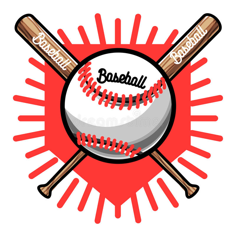 Emblema do basebol do vintage da cor ilustração do vetor