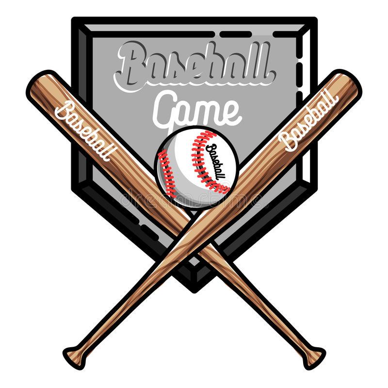 Emblema do basebol do vintage da cor ilustração stock
