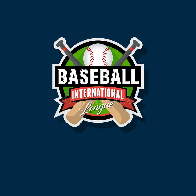 Emblema do basebol Logotipo do basebol Bastões de beisebol e logotipo da bola ilustração royalty free