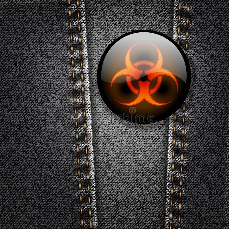 Emblema do Biohazard no vetor preto da sarja de Nimes ilustração stock