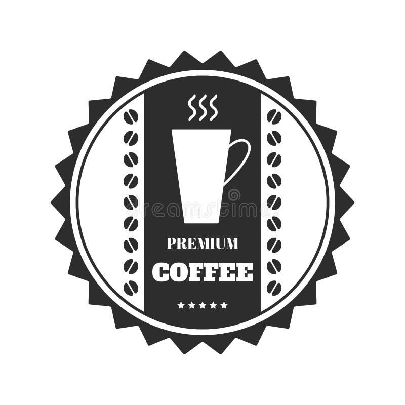 Emblema do café, crachá, logotipo, etiqueta isolada no fundo branco Vetor ilustração royalty free