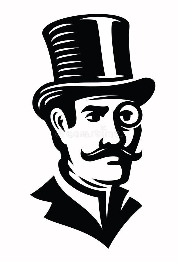 Emblema do cavalheiro do vintage ilustração stock