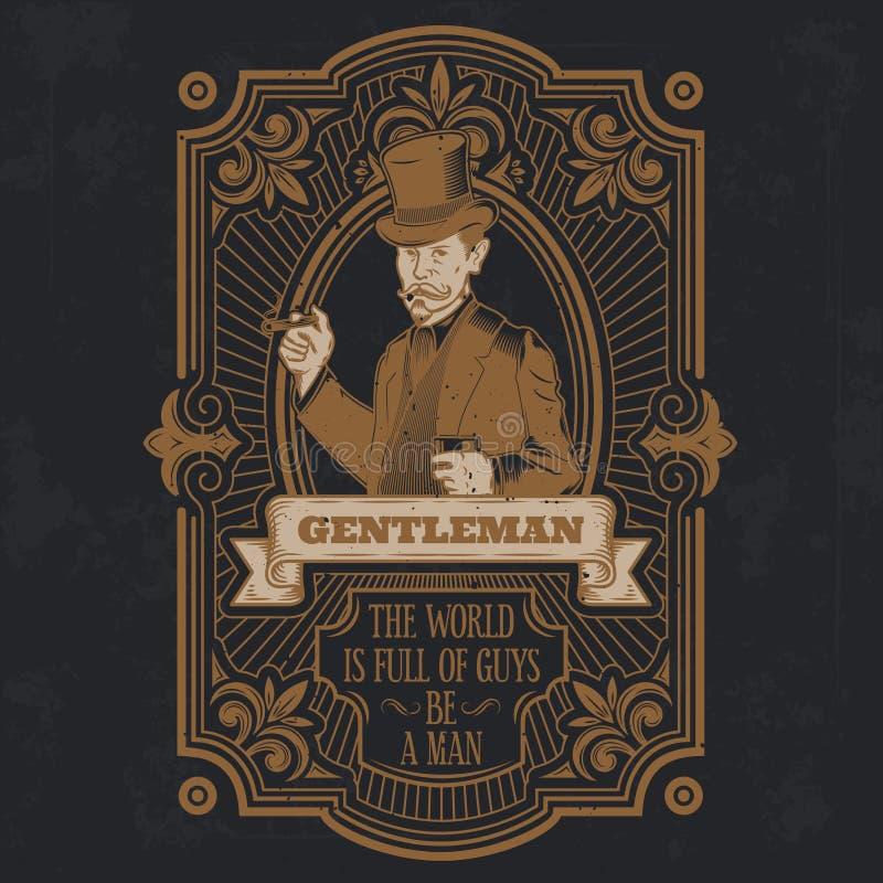 Emblema do cavalheiro do vintage, signage ilustração stock