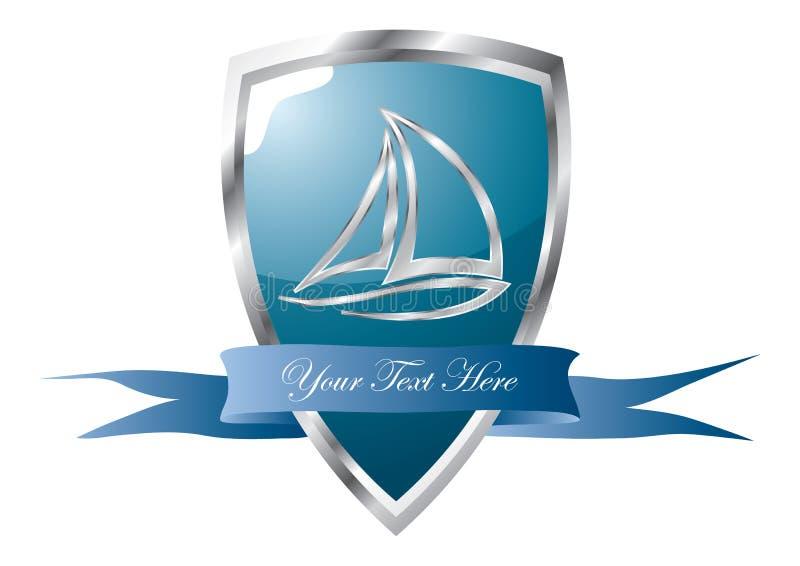 emblema do clube de iate ilustração stock