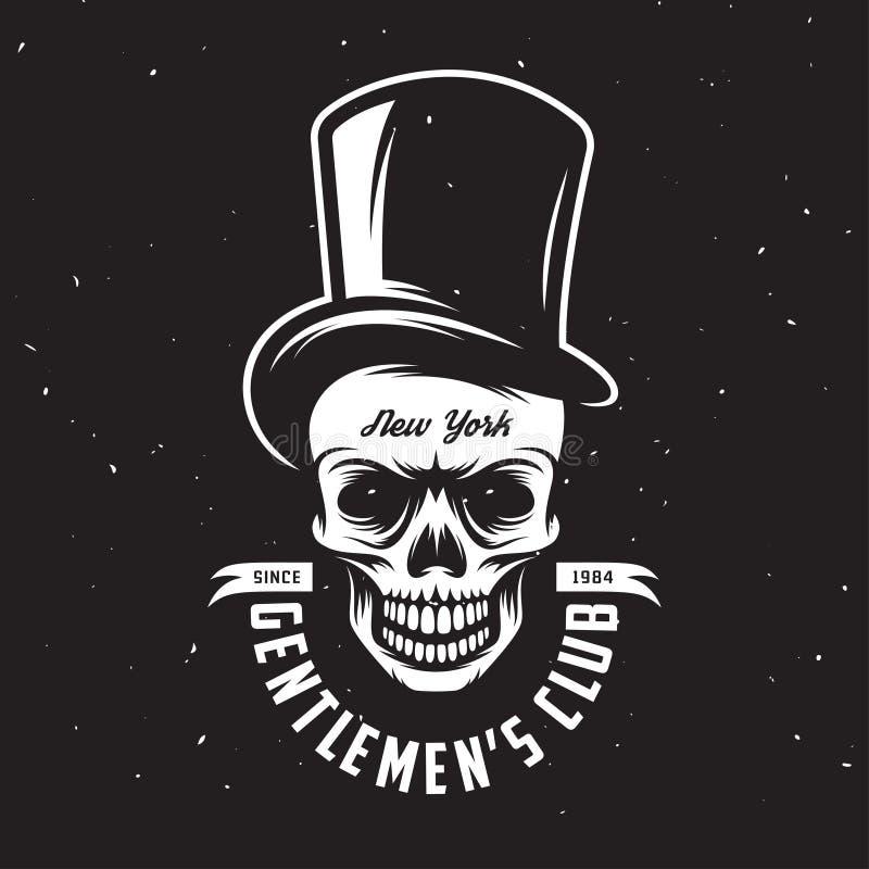 Emblema do clube do cavalheiro do vintage com o crânio no chapéu alto Ilustração do vetor ilustração stock