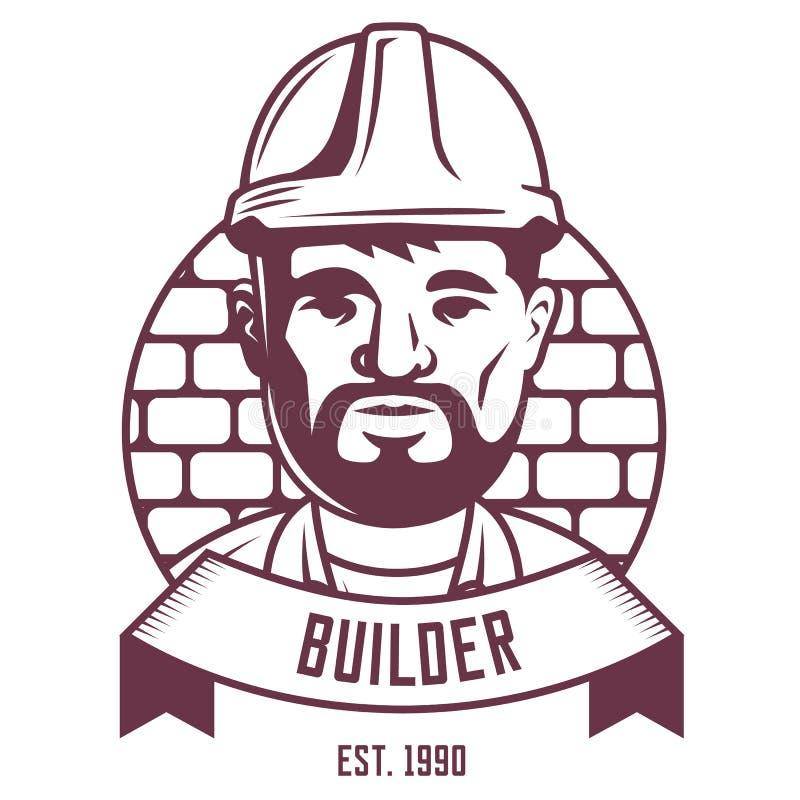 Emblema do construtor em um fundo da parede de tijolo ilustração do vetor