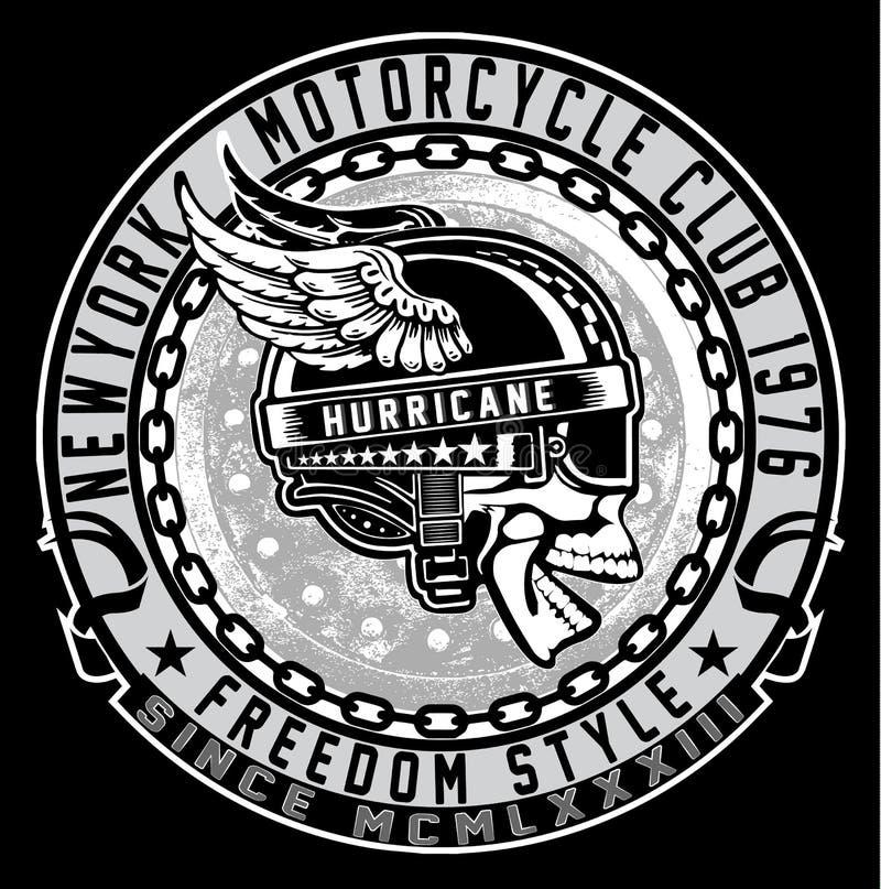 Emblema do crânio do motociclista do vintage ilustração stock