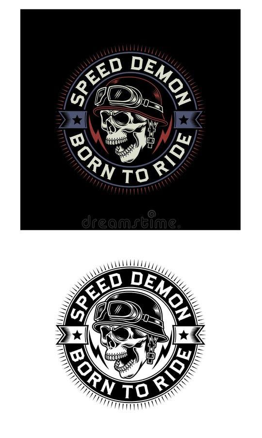 Emblema do crânio do motociclista do vintage no fundo preto e branco ilustração royalty free