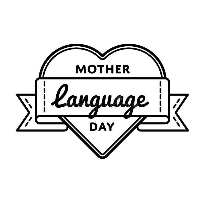 Emblema do cumprimento do dia da língua de mãe ilustração royalty free