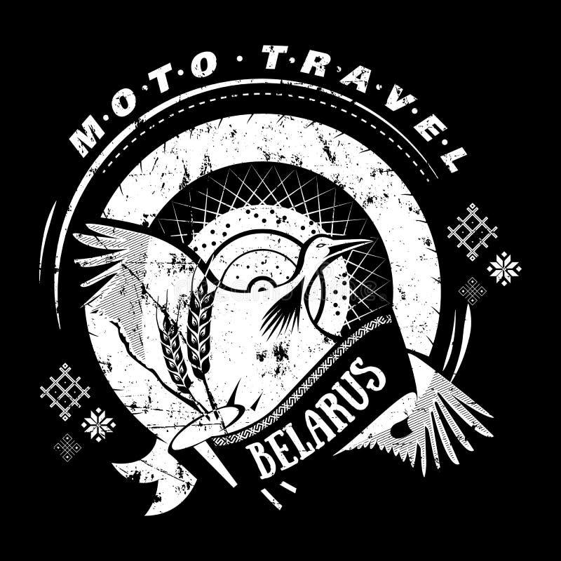 Emblema do curso de Moto com cegonha do pássaro, roda naturalizado ilustração royalty free