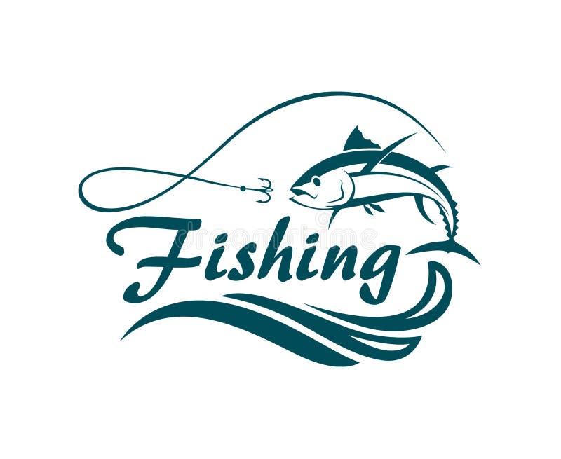 Emblema do esporte da pesca ilustração do vetor