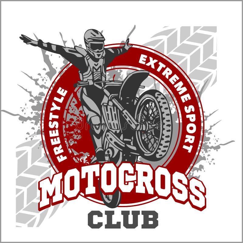 Emblema do esporte do motocross ilustração do vetor