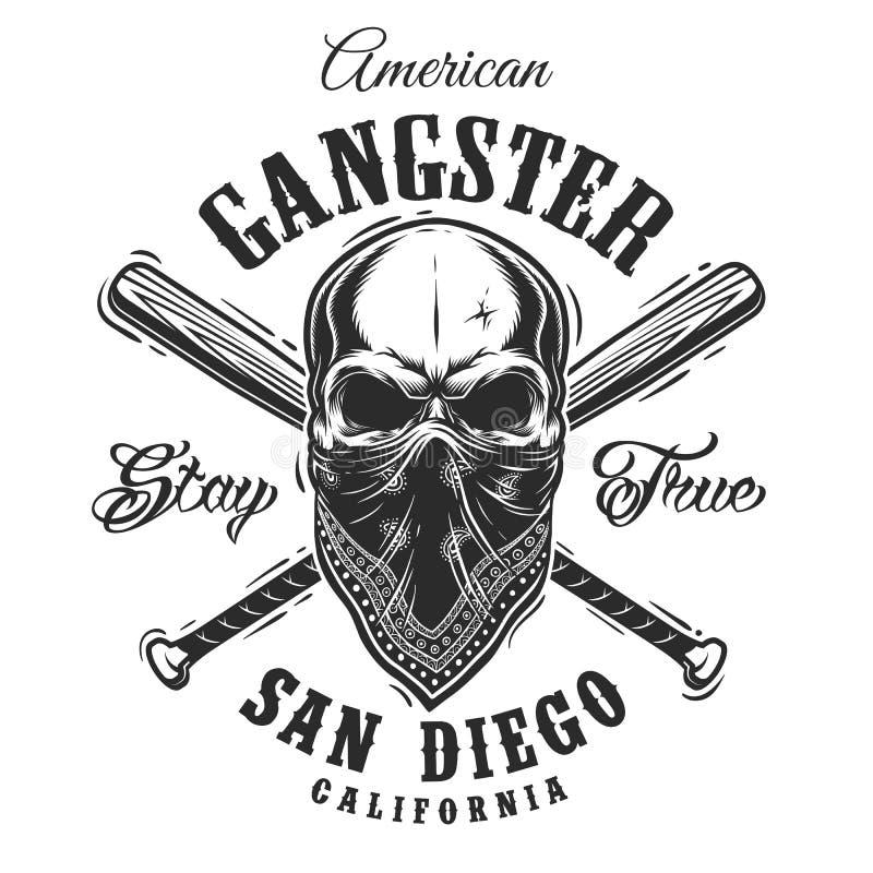 Emblema do gângster com o crânio no bandana ilustração do vetor