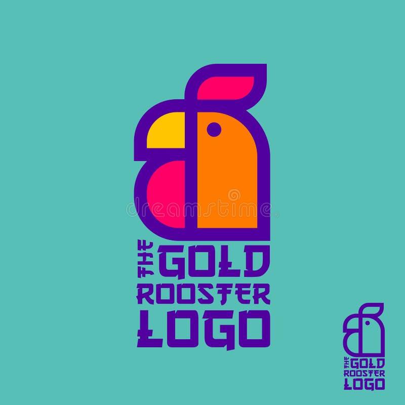 Emblema do galo O símbolo do ano novo chinês Símbolo do galo Logotipo linear no fundo dos azuis celestes Cópia do t-shirt ilustração stock