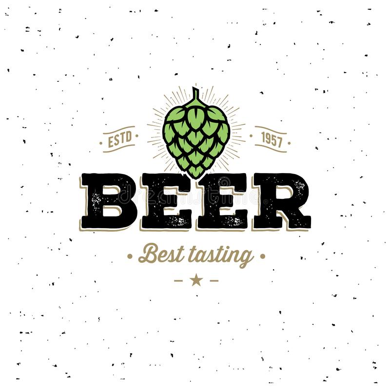 Emblema do lúpulo da cerveja com lúpulo Ilustração do vetor ilustração stock