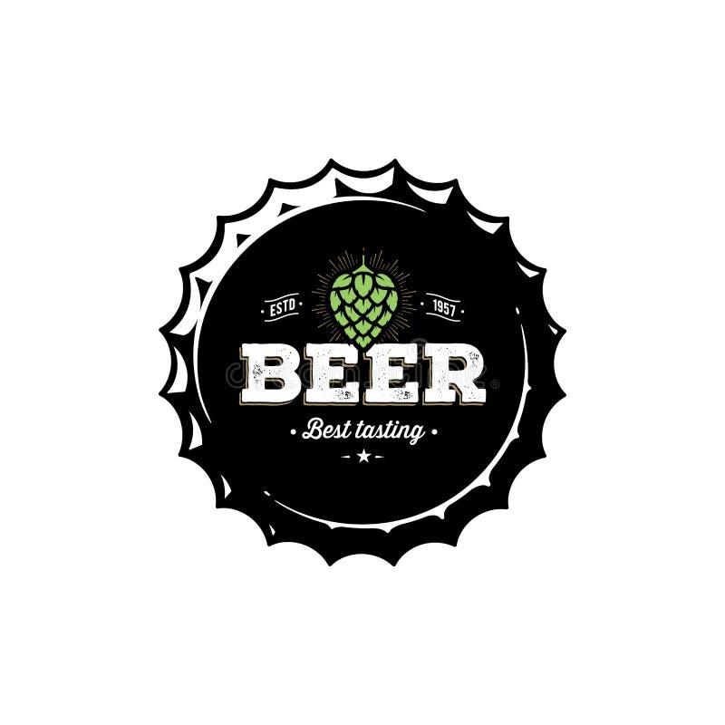Emblema do lúpulo do tampão da cerveja Para o bar, barra Ilustração do vetor ilustração royalty free
