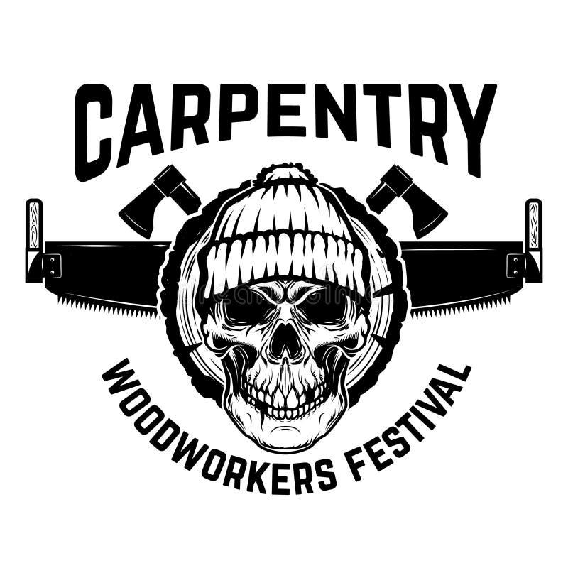 Emblema do lenhador Crânio com serra da mão Projete o elemento para o logotipo, etiqueta, emblema, sinal ilustração stock