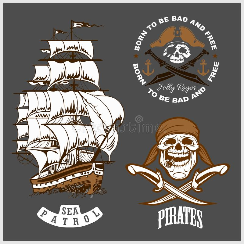 Emblema do mar - navio de pirata e Roger alegre ilustração do vetor